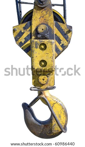 crane old hook on white background ( isolated with paths). - stock photo