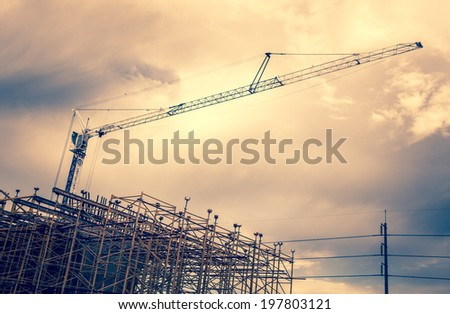 crane on building - construction site