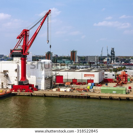 Crane on container terminal in seaport Rotterdam, Netherlands