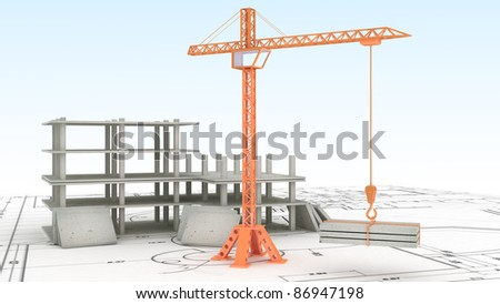 Crane on the construction site - stock photo