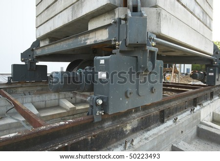 Crane rail detail on the construction site