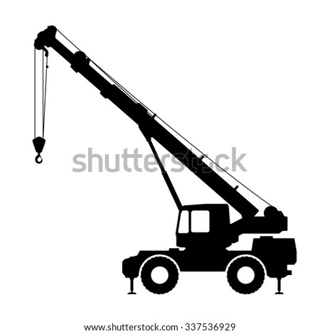 Crane Silhouette on a white background. illustration.