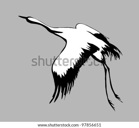 crane silhouette on gray background - stock photo