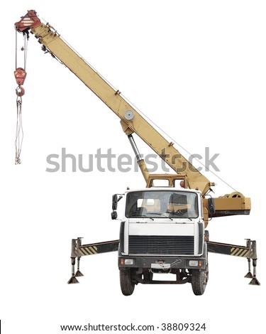 Crane truck under the white background - stock photo