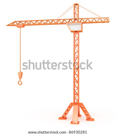 Crane with hook on white background - stock photo