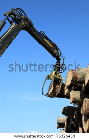 Crane with jaws loading logs onto a stack - stock photo