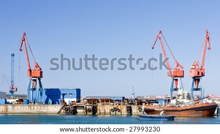 Cranes and boats