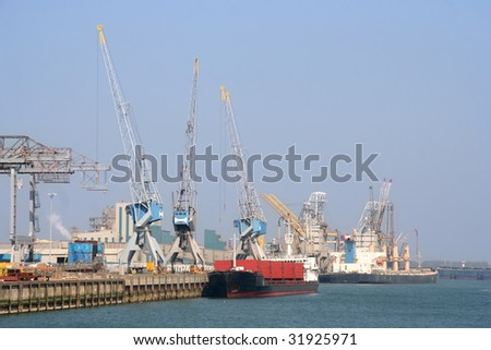 Cranes and gantries at the dock in Rotterdam Port