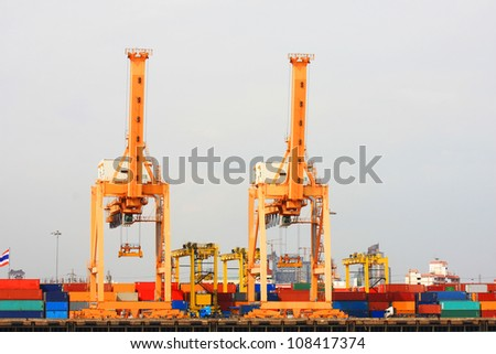 cranes at the container port terminal in bangkok