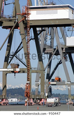 Cranes at the Port of Olympia, Washington State.