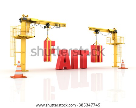 Cranes building the FAITH Word - High Quality 3D Render  - stock photo