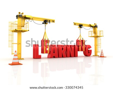 Cranes building the LEARNING Word - High Quality 3D Render - stock photo