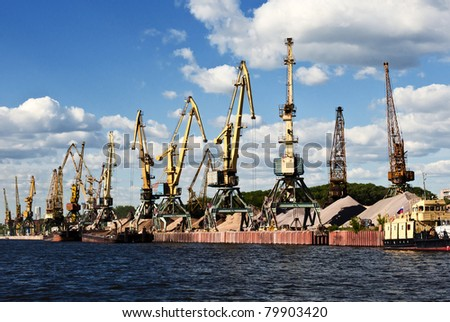 cranes in a port - stock photo