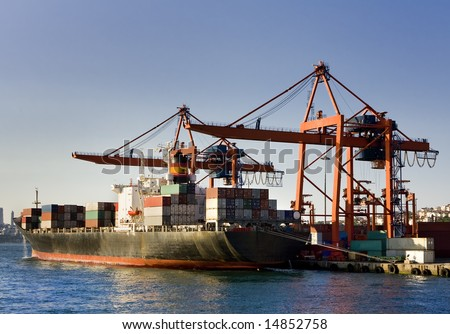 Cranes loading the cargo ship at the dock