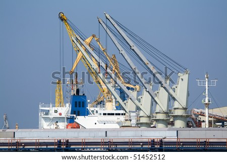 Cranes on the ship in the port