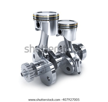Crankshaft and pistons on white background (done in 3d) - stock photo