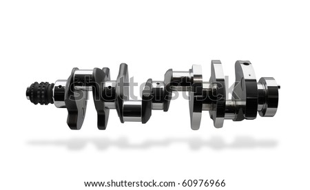 Crankshaft, isolated over white, clipping path, shadow - stock photo