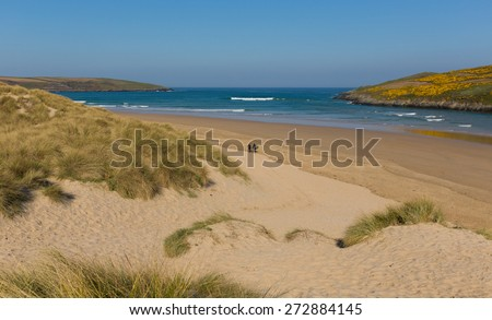 Crantock bay and beach North Cornwall England UK near Newquay and on the South West Coast Path in spring with blue sky and sea - stock photo