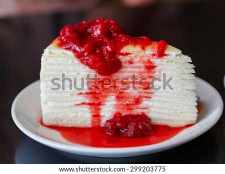 crape cake with strawberry yam on white dish