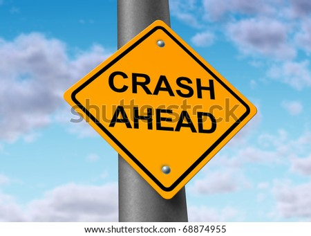 crash accident car auto damage insurance wreck traffic road sign symbol - stock photo