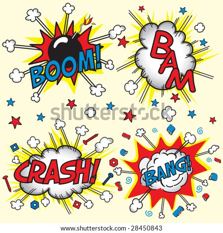 Crash, Boom, Bam and Bang! Four grouped Comic book cloud bursts and explosions! - stock photo