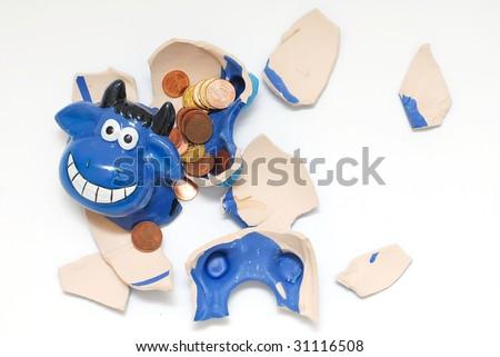 crash cow bank - stock photo