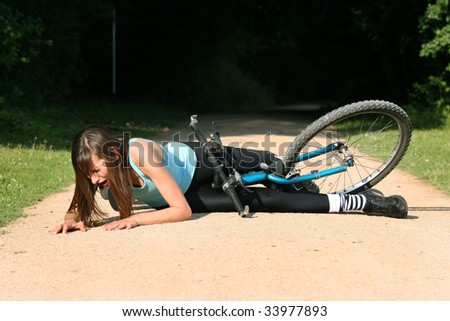crash from a bicycle on road - stock photo