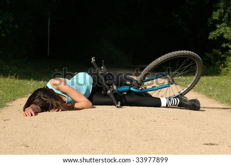 crash from bicycle - stock photo