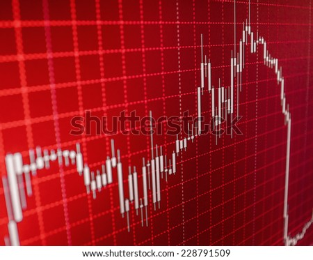 Crash recession. Going down on red display monitor. Financial data- stock exchange - red screen symbolizes losses. Stock market ticker board black and red collapse.  - stock photo