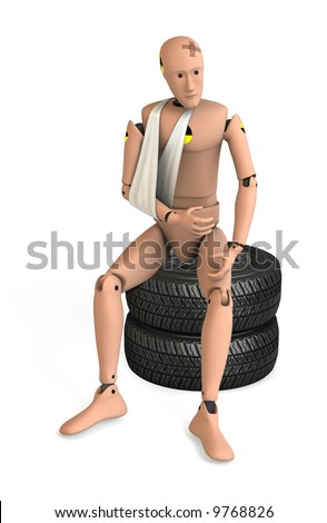 Crash Test Dummy on white - stock photo