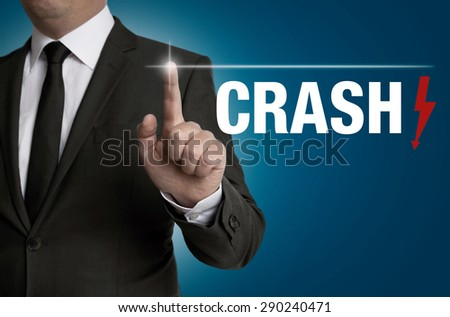 crash touchscreen is operated by businessman. - stock photo