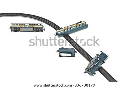 Crash toy train isolated on white background - stock photo