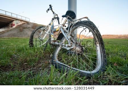 crashed bicycle - stock photo