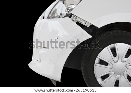 crashed car isolated on black - stock photo