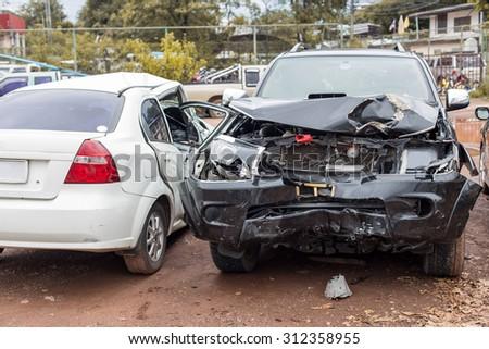 crashed cars - stock photo