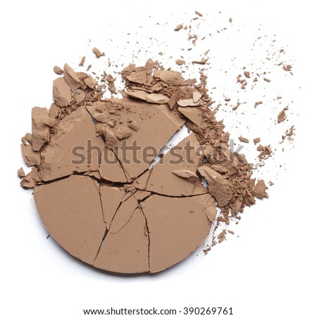 crashed compact powder isolated on white - stock photo