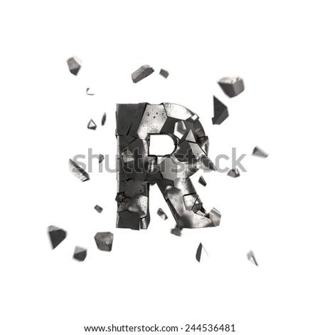 crashed iron letter R - stock photo