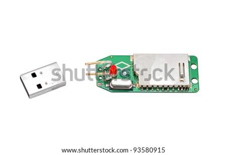 Crashed usb flash memory, isolated on white background - stock photo