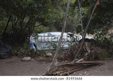 Crashed Vehicle in Trees - After Flood Disaster in Olympos, Turkey, Asia - stock photo