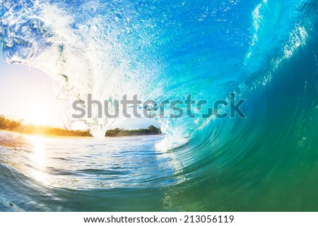 Crashing Blue Ocean Wave - stock photo