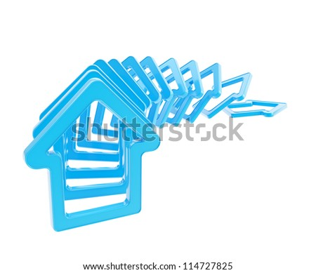 Crashing real estate market: queue line of blue glossy house emblems falling down as domino effect isolated on white background - stock photo