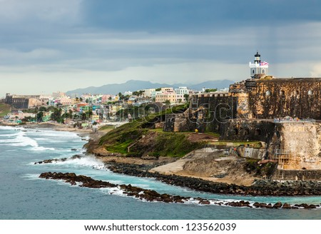 Crashing surf on the beach at El Morro Fortress, San Juan, Puerto Rico - stock photo