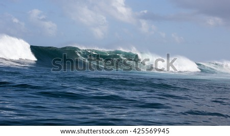Crashing waves in the Atlantic Ocean off the coast of Hout Bay  South Africa at the world famous big wave surf spot, Dungeons.