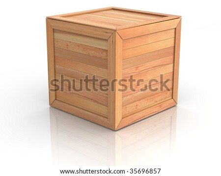 Crate. 3d - stock photo
