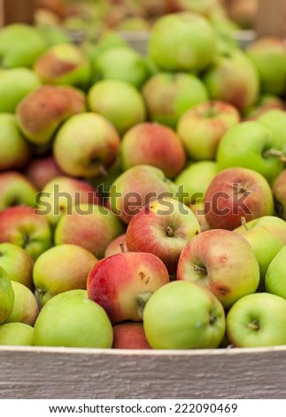 Crate of apples on the market.