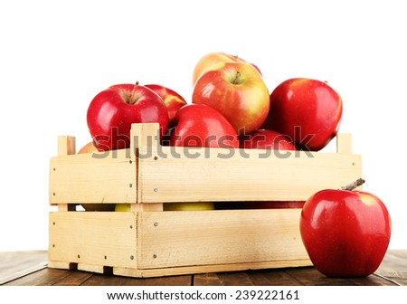 Crate of apples on wooden table, isolated on white background