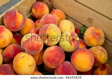 Crate of peaches - stock photo