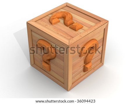 Crate with question. 3d - stock photo