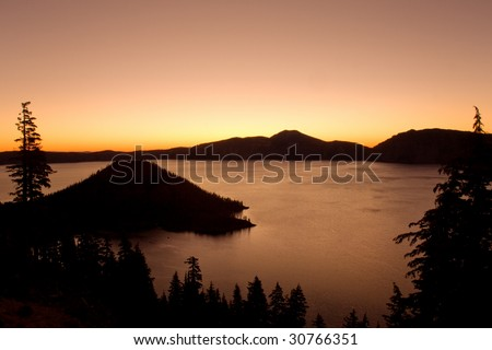 Crater lake national park at sunset, Oregon - stock photo