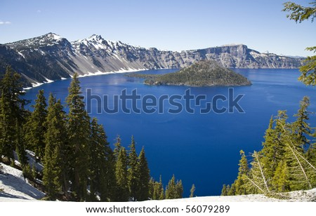Crater Lake National Park in Oregon, USA - Wizard Island - stock photo